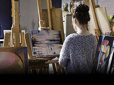 Artwork displayed on an easel