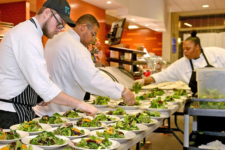 Julia Cookbook available now! Culinary Students and Faculty preparing salads