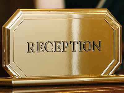 reception desk sign