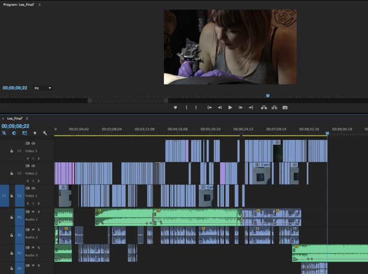 screenshot of video editing application
