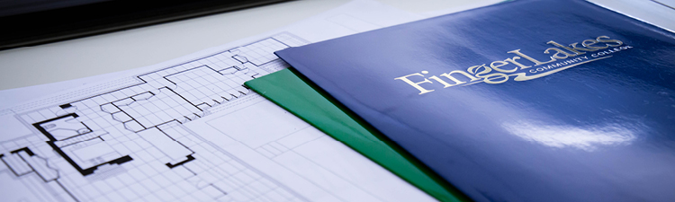 Blueprint next to Finger Lakes Community College folders